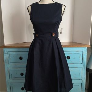 ModCloth fit and flare A-line navy dress